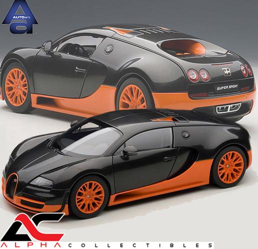 1 18 scale diecast bugatti veyron super sport carbon black orange side skirts autoart 70936. Black Bedroom Furniture Sets. Home Design Ideas
